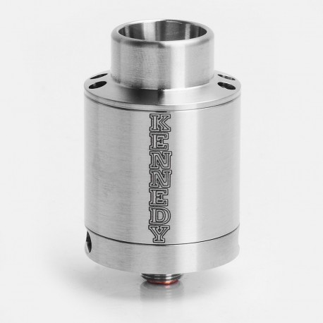 SXK Kennedy V5 Style RDA Rebuildable Dripping Atomizer w/ Bottom Feeder Pin - Silver, 316 Stainless Steel, 24mm Diameter