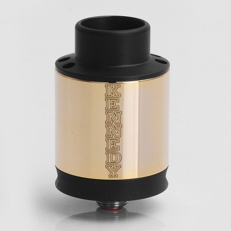 SXK Kennedy V5 Style RDA Rebuildable Dripping Atomizer w/ Bottom Feeder Pin - Black + Gold, 316 Stainless Steel, 24mm Diameter