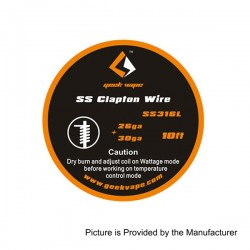 Authentic Geekvape SS316L Clapton Heating Resistance Wire for RBA / RDA / RTA Atomizers - 26GA + 30GA, 3m (10 Feet)