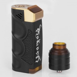 Moloch Style Mechanical Box Mod + Haze2Five Style RDA Kit - Black, Brass + Aluminum, 25mm Diameter, 1 x 18650