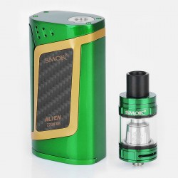 Authentic SMOK Alien 220W TC VW Starter Kit + TFV8 Baby Tank Kit - Green + Gold, 6~220W, 3ml, 2 x 18650
