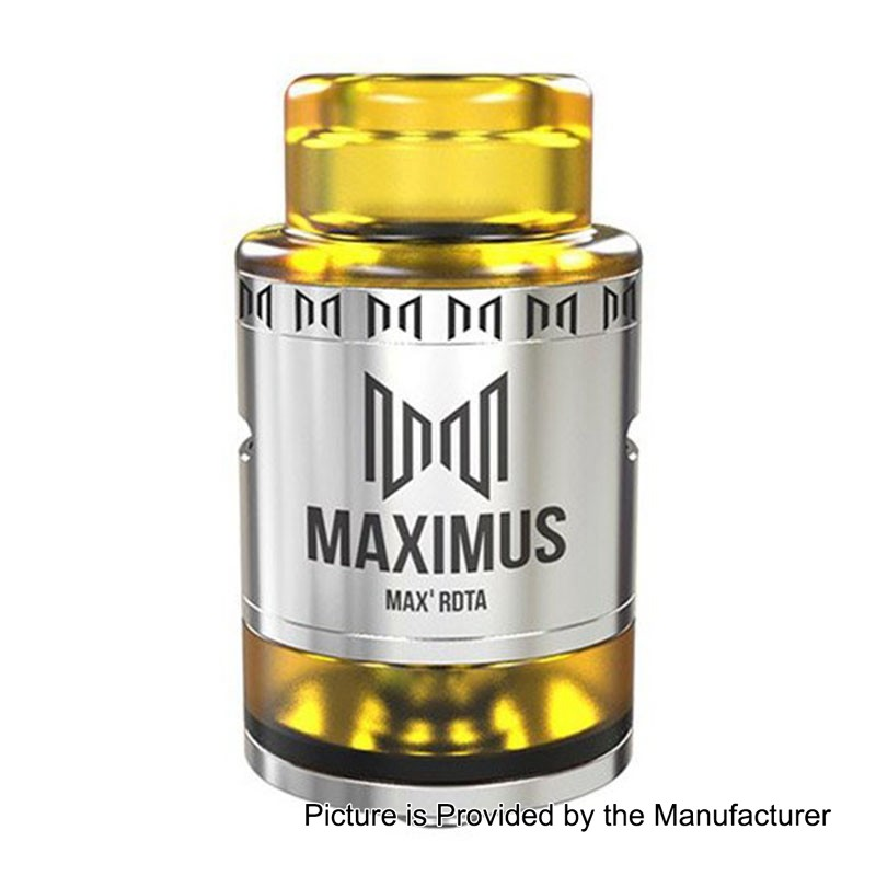 Authentic Oumier Maximus Max RDTA Rebuildable Dripping Tank Atomizer - Silver, Stainless Steel, 3ml, 24mm Diameter