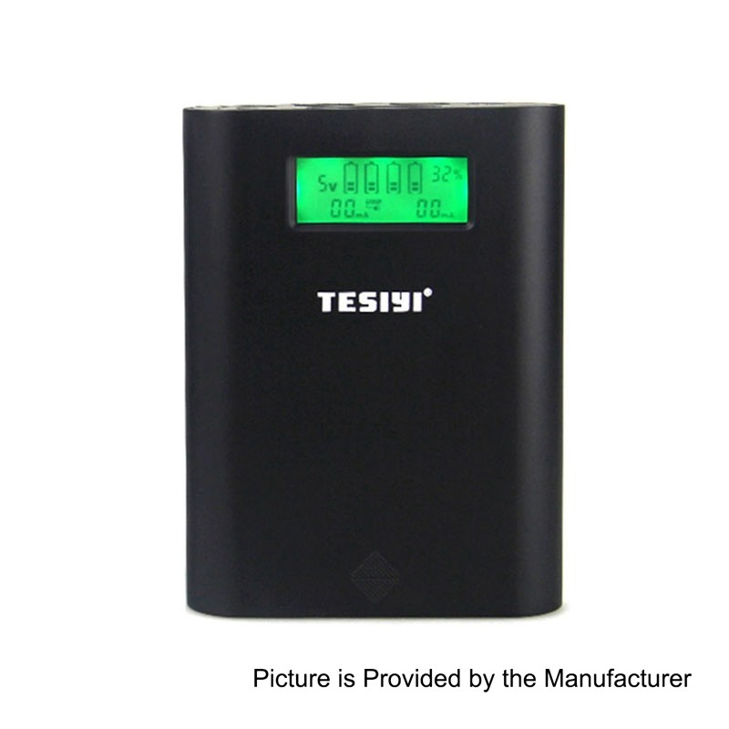 Authentic Tesiyi T4 Smart Digital Charger 18650 Battery - Black, 4 x Slots