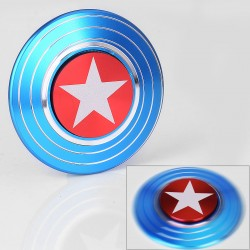 Captain American Shield Hand Spinner Fidget Toy EDC - Blue, Aluminum, Ceramic Bearings