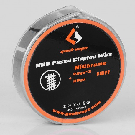 Authentic Geekvape N80 Fused Clapton Wire Heating Wire for RDA / RTA - 28GA x 3 + 36GA, 3m (10 Feet)