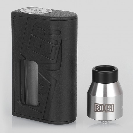 Boxer Style BF Squonk Mechanical Mod + Boxer Style RDA Kit - Black, ABS + Stainless Steel, 1 x 18650