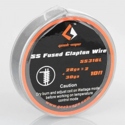Authentic Geekvape SS316L Fused Clapton Heating Resistance Wire for RBA / RDA / RTA Atomizers - 28GA x 2 + 30GA, 3m (10 Feet)