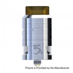 Authentic IJOY RDTA 5S Rebuildable Dripping Tank Atomizer - Silver, Stainless Steel, 2.6ml, 24mm Diameter