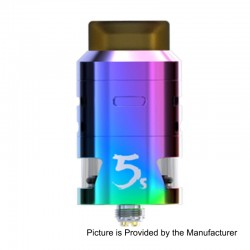 Authentic IJOY RDTA 5S Rebuildable Dripping Tank Atomizer - Rainbow, Stainless Steel, 2.6ml, 24mm Diameter