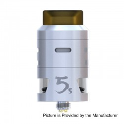 Authentic IJOY RDTA 5S Rebuildable Dripping Tank Atomizer - White, Stainless Steel, 2.6ml, 24mm Diameter