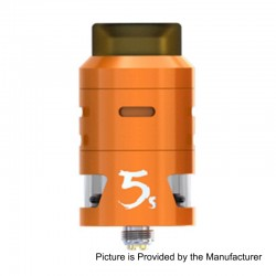 Authentic IJOY RDTA 5S Rebuildable Dripping Tank Atomizer - Orange, Stainless Steel, 2.6ml, 24mm Diameter