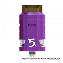 Authentic IJOY RDTA 5S Rebuildable Dripping Tank Atomizer - Purple, Stainless Steel, 2.6ml, 24mm Diameter