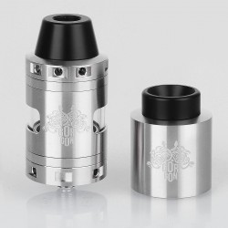 Gorgon Style RDCA Rebuildable Dripping Customizable Atomizer - Silver, Stainless Steel, 25mm Diameter