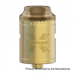 Authentic Tigertek Springer X RDA Rebuildable Dripping Atomizer - Gold, Stainless Steel, 24mm Diameter