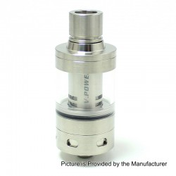 SXK V Power Style Sub Ohm Tank Atomizer - Silver, Stainless Steel, 0.5 Ohm, 22mm Diameter