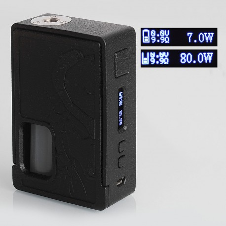 Authentic Yiloong Squonk Predator 80W 3D Printed VW Variable Wattage Box Mod - Black, 13ml Dropper Bottle, 1 x 18650