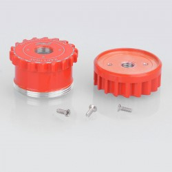 Saw Blade Style Replacement Hybrid Top Cap Hat + Keyswitch Disk Base for AV Series Style Mechanical Mod - Red, Aluminum