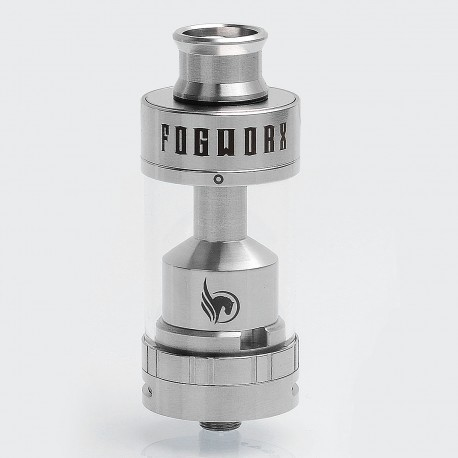 Authentic Fogworx Slider RTA Rebuildable Tank Atomizer - Silver, Stainless Steel, 5.5ml, 25mm Diameter