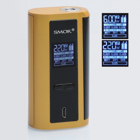 Authentic SMOKTech SMOK GX2/4 350W TC VW Variable Wattage Box Mod - Gold + Black, 6~350W, 200~600'F / 100~315'C, 2 / 4 x 18650