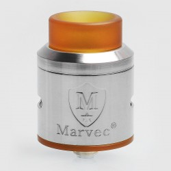 Authentic Marvec Dark Knight RDA Rebuildable Dripping Atomizer w/ BF Pin - Silver, Stainless Steel, 24.5mm Diameter