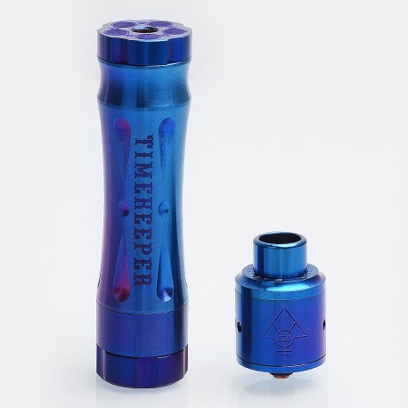 AV Revolver Time Keeper Style Mechanical Mod + Goon Style RDA Kit - Blue, Stainless Steel, 1 x 18650, 24mm Diameter