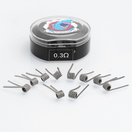 Authentic VapeThink 316SS Flat Tsuka Clapton Pre-built Coil - (0.1 x 0.5mm Flat) + (0.3 x 0.8mm SS316L), 0.3 Ohm (10 PCS)