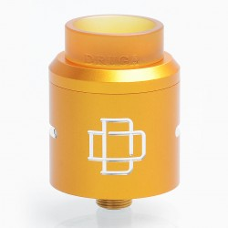 Authentic Augvape Druga RDA Rebuildable Dripping Atomizer w/ BF Pin - Yellow, Stainless Steel, 24mm Diameter