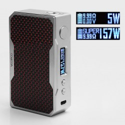 Authentic Voopoo Drag 157W TC VW Variable Wattage Box Mod - Silver + Black + Red, Zinc Alloy, 5~157W, 2 x 18650