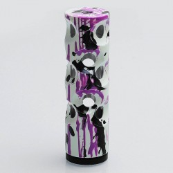 Swiss Style Hybrid Mechanical Mod - White + Black + Purple, Aluminum + Brass, 1 x 18650, Glow-in-the-Dark