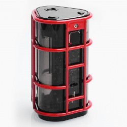 Authentic Wismec ES300 EXO SKELETON 300W Transparent Body TC VW Variable Wattage Mod - Red, 1~200W / 300W, 2 / 3 x 18650