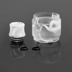 Replacement Tank Sleeve + Drip Tip Kit for SMOK TFV12 Tank - White, Resin