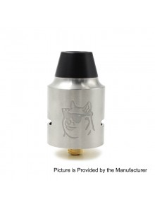 Doge V4 Style RDA Rebuildable Dripping Atomizer - Silver, Stainless Steel, 24mm Diameter