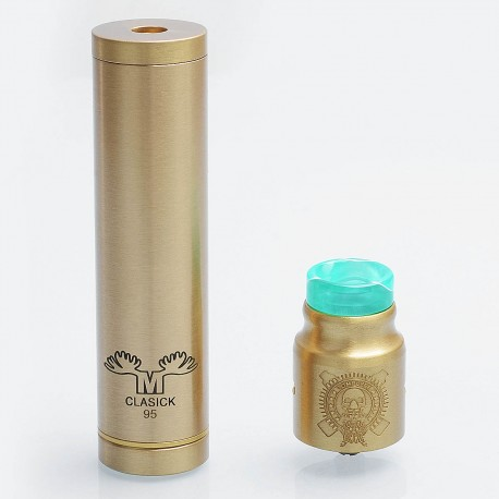 Metal Moose Clasick Style Mechanical Mod + Battle Style RDA Kit - Brass, Brass, 1 x 18650, 24mm Diameter