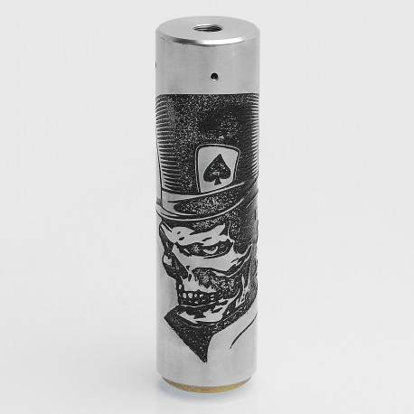 Rogue Style Engraved Mechanical Mod - Silver, Stainless Steel, 24mm Diameter