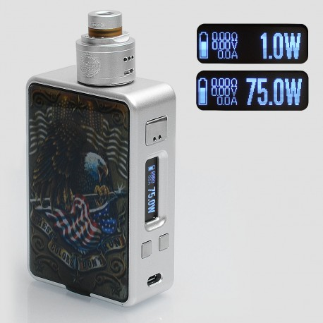 Authentic Hcigar VT Inbox 75W TC VW Varible Wattage Box Mod + Maze V1.1 22mm RDA - Silver, 1~75W, 1 x 18650, Evolv DNA75 Chip
