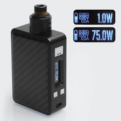 Authentic Hcigar VT Inbox 75W TC VW Varible Wattage Box Mod + Maze V1.1 22mm RDA - Black, 1~75W, 1 x 18650, Evolv DNA75 Chip