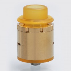 HELM Style RDA Rebuildable Dripping Atomizer w/ BF Pin - Gold, Stainless Steel, 24mm Diameter