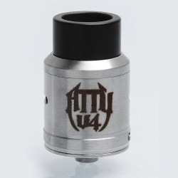 Vape Breed Atty V4 Style RDA Rebuildable Dripping Atomizer - Silver, Stainless Steel, 24mm Diameter
