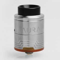 Authentic Digiflavor Aura RDA Rebuildable Dripping Atomizer w/ BF Pin - Silver, Stainless Steel, 24mm Diameter