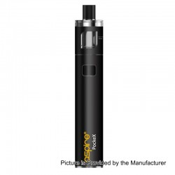 Authentic Aspire PockeX Pocket AIO 1500mAh All-in-One Starter Kit - Matte Black, Stainless Steel, 2ml, 0.6 Ohm