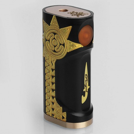 Punyal Style Mechanical Box Mod - Black, Delrin + Brass, 1 x 18650