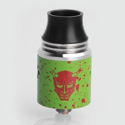 Authentic Blitz Enterprise Hannya RDA Rebuildable Dripping Atomizer - Zombie Green Splatter, Stainless Steel, 22mm Diameter