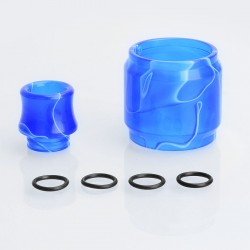 Replacement Tank Sleeve + Drip Tip Kit for SMOK TFV8 Tank - Dark Blue, Resin