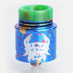 Devil Style RDA Rebuildable Dripping Atomizer w/ BF Pin - Spotted Blue, Aluminum + Stainless Steel, 24mm Diameter