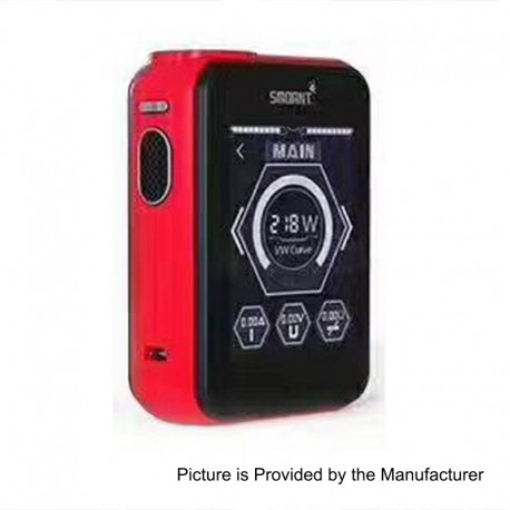 Authentic Smoant Charon TS 218 Touch Screen TC VW Variable Wattage Box Mod - Red, 1~218W, 2 x 18650