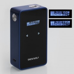 Authentic SNOWWOLF 200W C 235W TC VW Variable Wattage Box Mod - Dark Blue, 10~235W, 2 x 18650