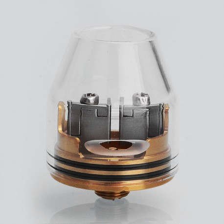 Kryten Style RDA Rebuildable Dripping Atomizer w/ Glass Top Cap - Gold, Stainless Steel, 24mm Diameter