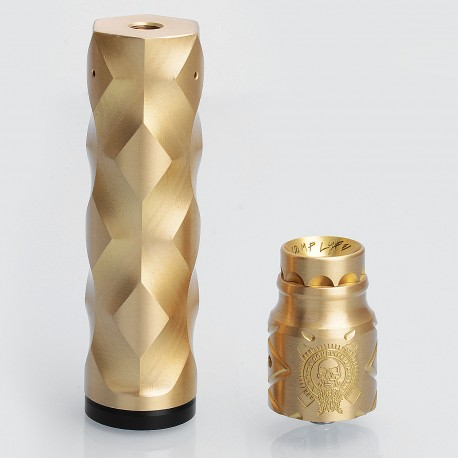 The Double Cross Style Hybrid Mechanical Mod + Battle Style RDA Kit - Brass, Brass + Stainless Steel, 1 x 18650, 24mm Diameter