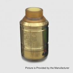 Sherman Style RDA Rebuildable Dripping Atomizer w/ BF Pin - Gold, Stainless Steel, 28mm Diameter
