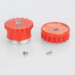 Saw Blade Style Replacement Hybrid Top Cap Hat + Keyswitch Disk Base for Authentic AV Mechanical Mod - Red, Aluminum